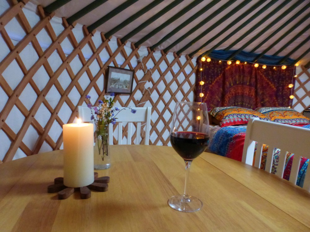 Wine, Yurt, glamping, luxury, relax, holiday, short break, winter break, Wales, Ceredigion, fairy lights, candle