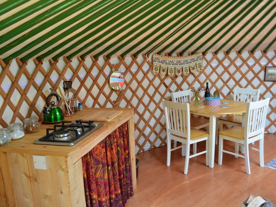 Yurt, glamping, kitchenette, gas stove, dining table, cooking, tea, coffee, holiday, luxury, relaxing, child friendly, family friendly, pet friendly