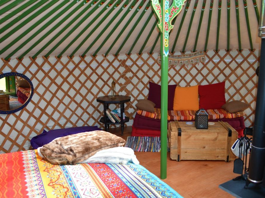 Yurt, glamping, mongolian, traditional, cosy, bed, sofa, fire, luxury, relaxing, holiday, farm, coast, retreat, eco