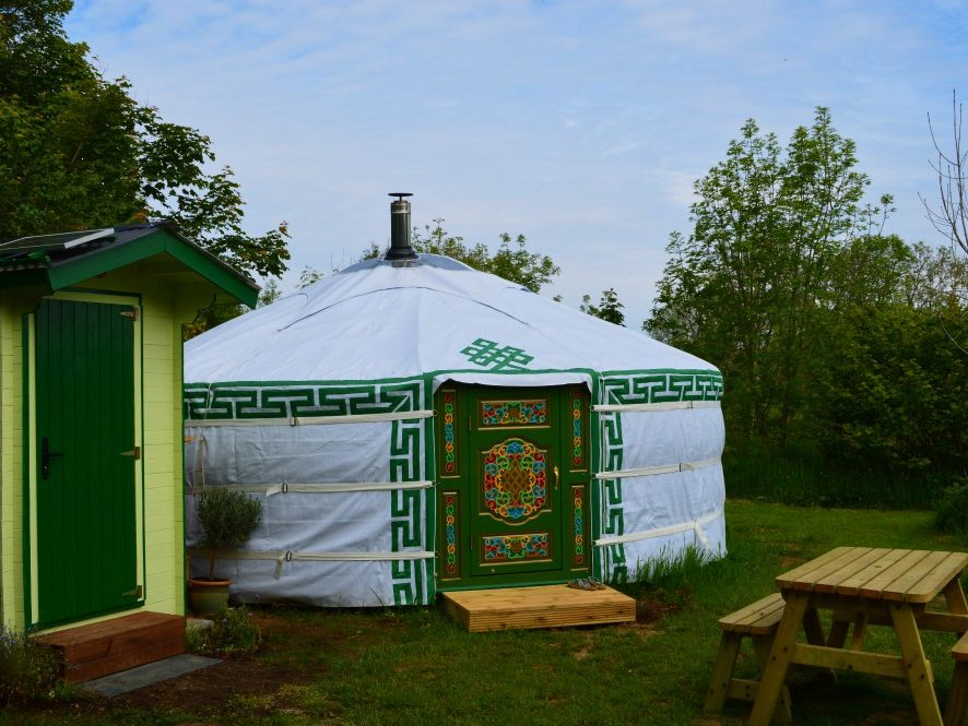 yurt, wales, mongolian, glamping, holiday, alternative, eco, nature, natural, green, picnic table, private, trees, New Quay, Llangrannog