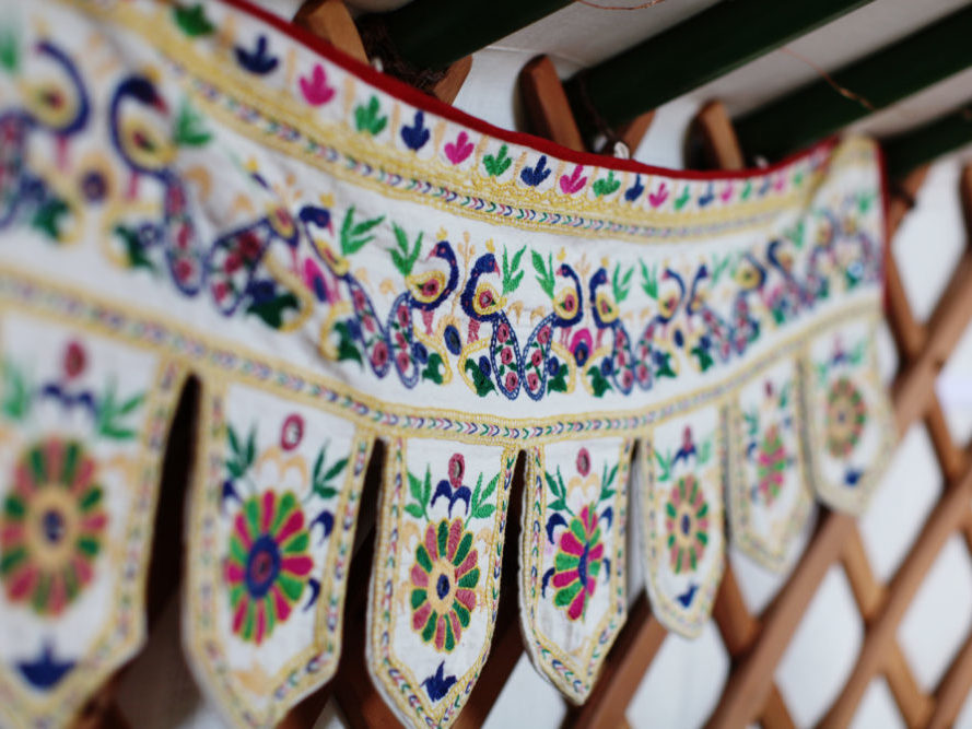 banner, decoration, embroidery, colour, yurt, glamping, mongolian, holiday, retreat, break, winter holiday, winter break, autumn, wales, farm, relaxing, luxury, different, special