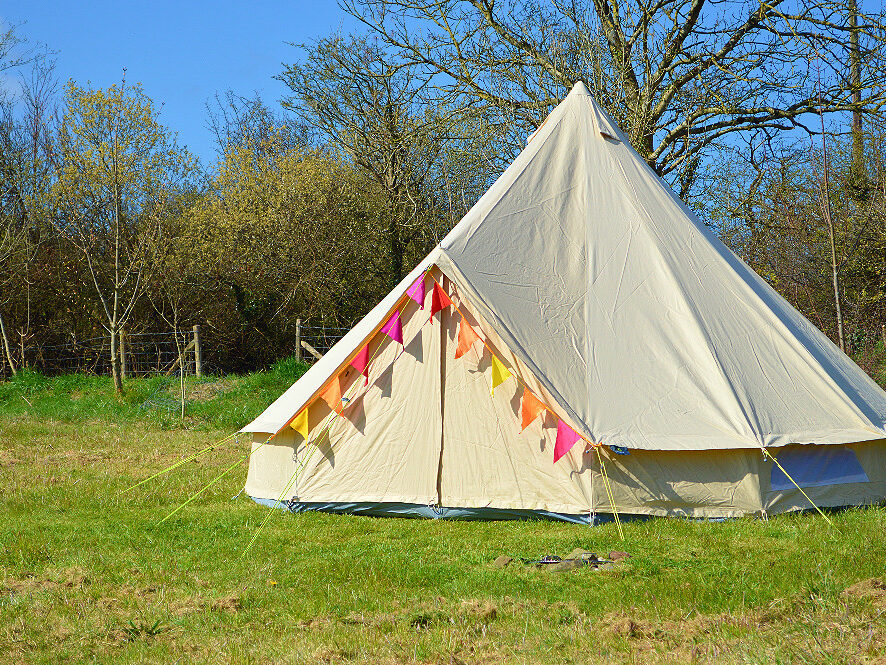 bell tent, bunting, glamping, family holiday, romantic holiday, seaside, dog friendly, Llangrannog, Wales
